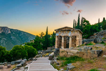 Sunset view of Athenian treasury at the ancient delphi site in Greece Stok Fotoğraf