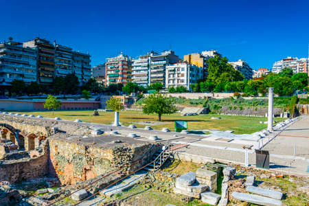 View of ancient Agora in Thessaloniki, Greece