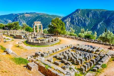 Ruins of temple of Athena Pronaia at Delphi, Greece