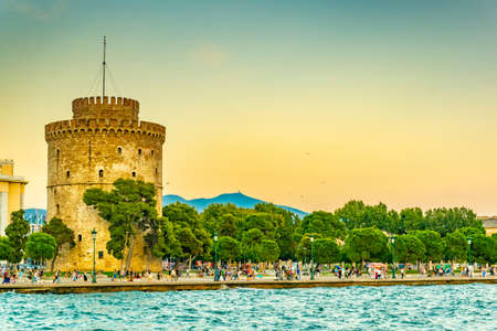 Sunset view of the white tower in Thessaloniki, Greece