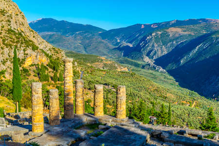 Ruins of temple of Apollo at ancient Delphi, Greece