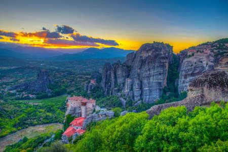 Sunset over Meteora in Greece