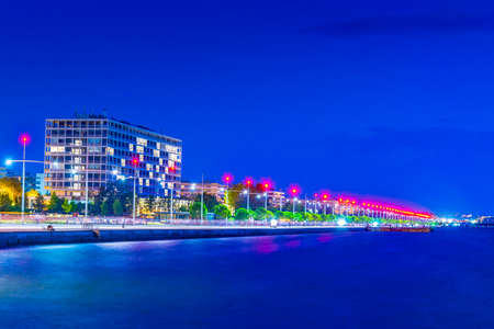 Night view of seaside promenade in Thessaloniki, Greece