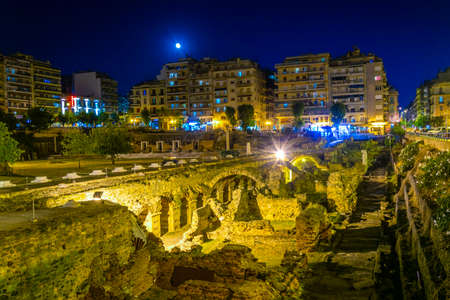 Night view of ancient Agora in Thessaloniki, Greece