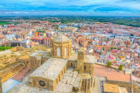 Aerial view of La Seu Vella cathedral at Lleida, Spain