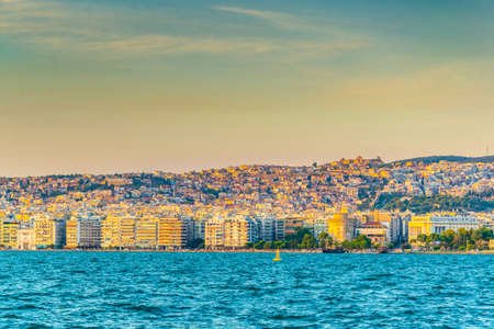 Sunset view of thessaloniki, greece