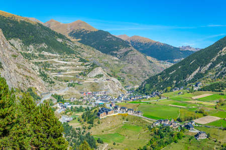 Canillo town nested in the valley of river Valira at Andorra