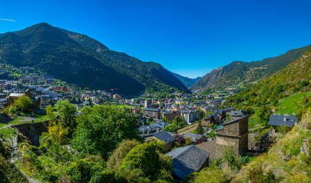 Aerial view of Encamp, Andorra Stock Photo