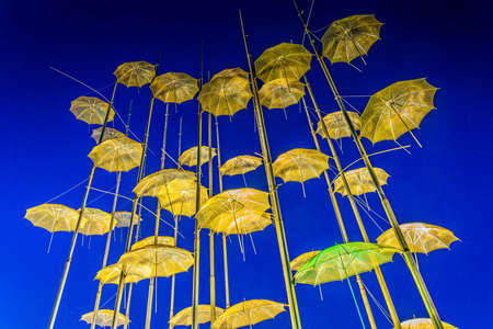 Night view of the Zongolopoulos Umbrellas in Thessaloniki, Greece
