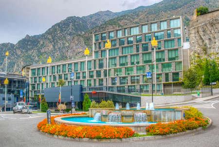 ANDORRA LA VELLA, ANDORRA, SEPTEMBER 30, 2017: View of square of seven poets at Andorra la Vella