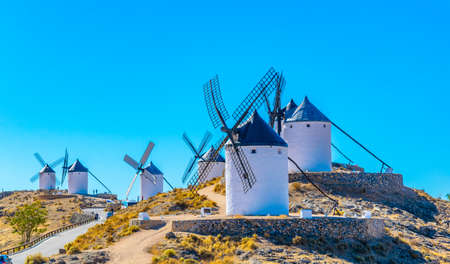 Traditional white windmills at Consuegra in Spain Stok Fotoğraf