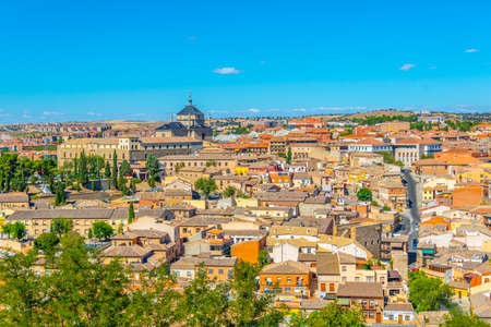 Aerial view of Toledo dominated by Saint Ildefonso church in Spain Stock Photo