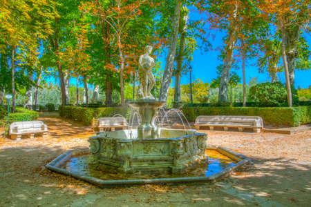 Fountain at gardens of royal palace of Aranjuez, Spain