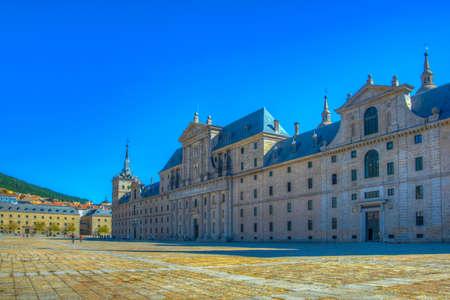 Real Plaza de San Lorenzo de El Escorial, cerca de Madrid, España