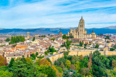 Cityscape of Segovia with the gothic cathedral, Spain