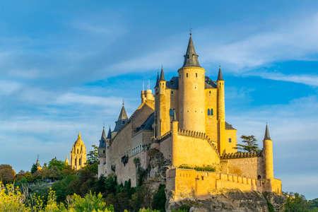 Sunset view of Alcazar de Segovia in Spain Stock Photo