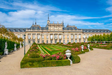View of Palace la Granja de San Ildefonso from gardens, Spain
