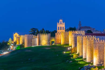 Sunset view of Carmen gate at Avila, Spain