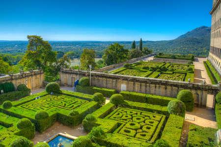 Gardens of the Royal Seat of San Lorenzo de El Escorial near Madrid, Spain Фото со стока