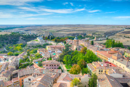 Aerial view of Alcazar de Segovia from the gothic cathedral, Spain