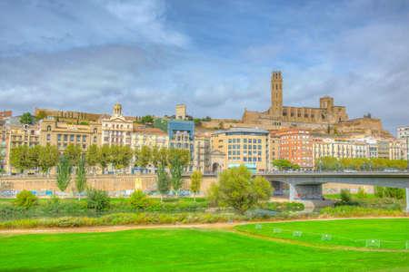 LLEIDA, SPAIN, OCTOBER 1, 2017: La Seu Vella cathedral erected over Lleida town in Spain Redakční