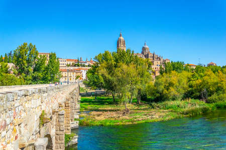 Roman bridge leading to the Salamanca cathedral, Spain