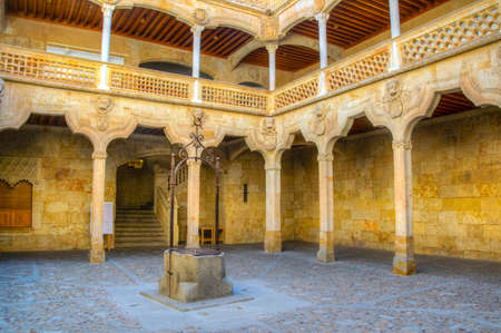 Courtyard of public library situated in the house of shells at Salamanca, Spain