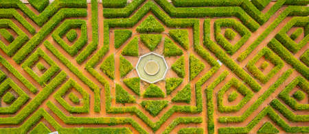 aerial view of a symmetrical garden