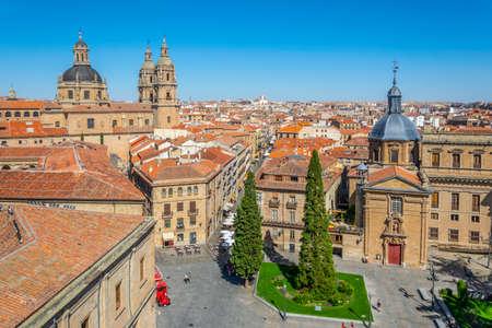 Aerial view of church of San Sebastian, Holy Spirit and anaya palace at Salamanca, Spain