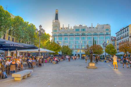 MADRID, SPAIN, OCTOBER 6, 2017: View of Santa Ana square in Madrid, Spain