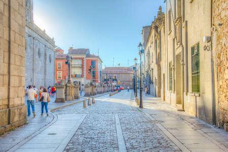 AVILA, SPAIN, OCTOBER 5, 2017: View of a narrow street at old town of Avila, Spain Stock Photo