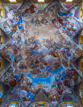 EL ESCORIAL, MADRID, OCTOBER 6, 2017: Decorated ceiling at the Royal Seat of San Lorenzo de El Escorial near Madrid, Spain