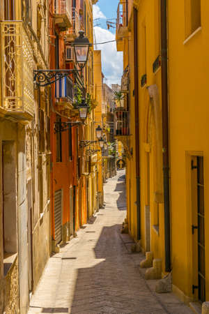 View of a narrow street in Trapani, Sicily, Italy Stok Fotoğraf