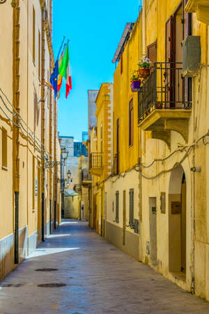 View of a narrow street in Marsala, Sicily, Italy Stok Fotoğraf