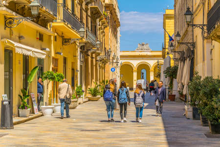 TRAPANI, ITALY, APRIL 21, 2017: View of the Via torre arsa in Trapani, Sicily, Italy