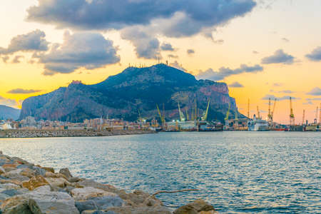 View of seaside of the sicilian city Palermo during sunset, Italy