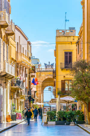 MARSALA, ITALY, APRIL 21, 2017:  View of via XI Maggio in Marsala, Sicily, Italy Editöryel