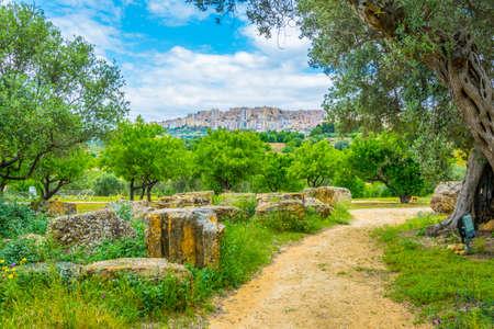 Vista delle rovine del tempio di Zeus nella Valle dei templi nei pressi di Agrigento in Sicilia, Italia