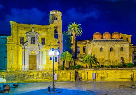 Night view of Piazza Bellini dominated by chiesa di san cataldo and chiesa santa maria dell ammiraglio in Palermo, Sicily, Italy