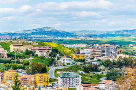 Aerial view of sicilian city Agrigento, Italy Фото со стока