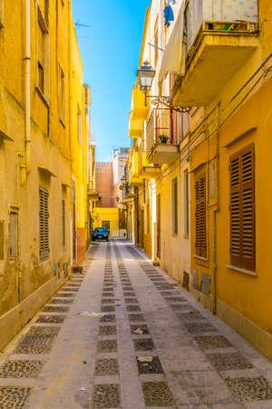 View of a narrow street in Marsala, Sicily, Italy Фото со стока