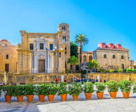 Piazza Bellini dominated by chiesa di san cataldo and chiesa santa maria dell ammiraglio in Palermo, Sicily, Italy
