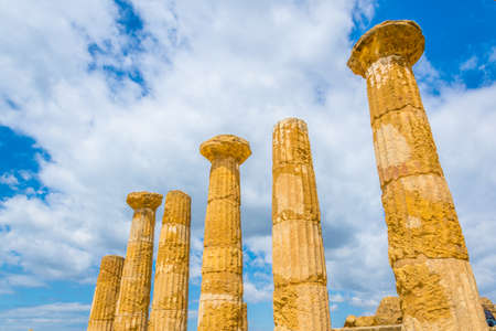 View of ruins of the temple of Hercules in the Valley of temples near Agrigento in Sicily, Italy
