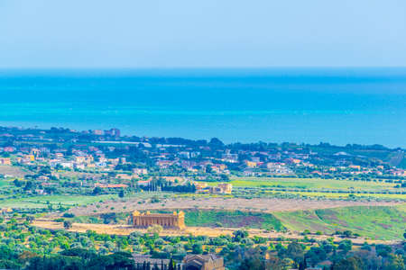View of the Concordia temple in the Valley of temples near Agrigento in Sicily, Italy