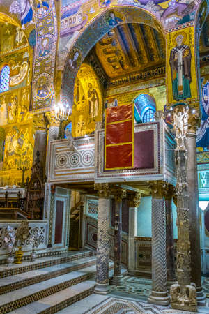 PALERMO, ITALY, APRIL 23, 2017: Interior of Cappella palatina inside of the palazzo dei Normanni in Palermo, Sicily, Italy