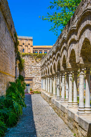 Gardens in the grounds of Church of St. John of the Hermits in Palermo, Sicily, Italy Stok Fotoğraf