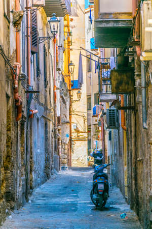View of a narrow street in Palermo, Sicily, Italy