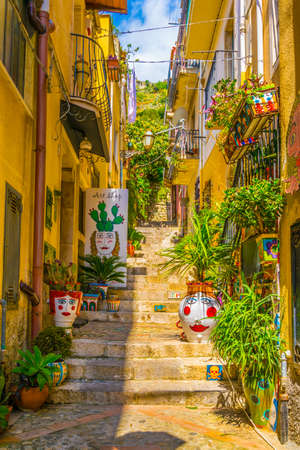 View of a narrow street in Taormina, Sicily, Italy