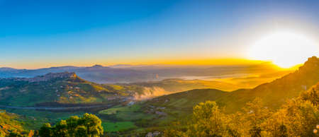 Sunsrise view of Calascibetta village in central Sicily, Italy.
