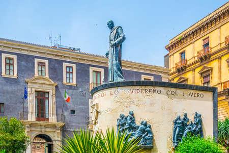 Monument of cardinal Dusmet in Catania, Sicily, Italy 写真素材